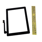 New Black Touch Screen Glass Digitizer, Home Button & Adhesive For iPad 3 iPad 4