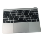 New Silver Palmrest Keyboard & Touchpad 613-01195-B - MacBook A1534 2015 12""